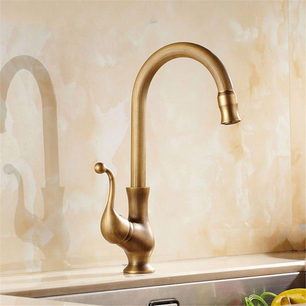 MEIBATH Waschtischarmatur Badezimmer Waschbecken Wasserhahn Küchenarmaturen Messing antik Warmes und Kaltes Wasser Ventil Küchen Wasserhahn Badarmatur