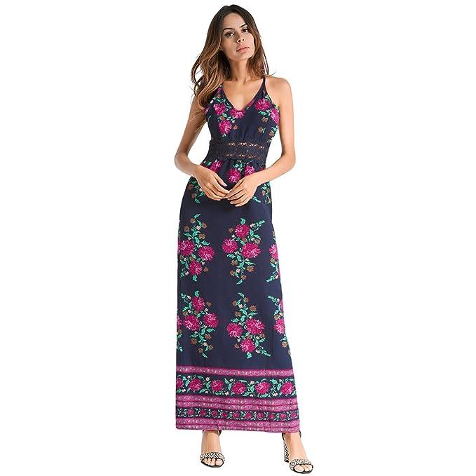 antaina Vestido Halter de Gasa Estampado Floral Blanco V Profundo Bohemio Maxi Largo Vestido de Playa de Las Mujeres: Amazon.es: Ropa y accesorios