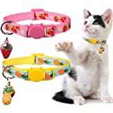 Stpiatue 2Pack Breakaway Cat Collars with Bell Pineapple and Strawberry Patterns Safety Adjustable Kitten Collars