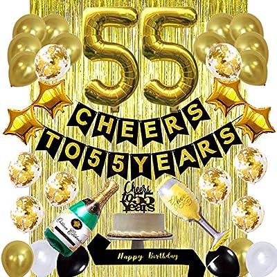 Amazon.com: Kit de decoración de cumpleaños 55º de oro ...