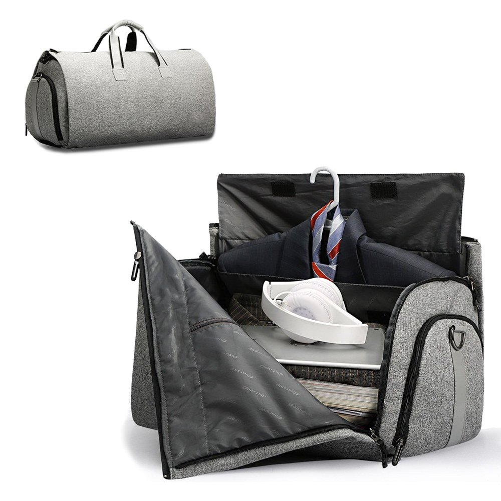 Folding Garment Bag Suitcase For Man, 45L High Capacity Carry-on Garment Bag (GREY)