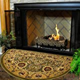 Cheap Woodeze 46″ Half Round Green and Taupe Kashan Hearth Rug