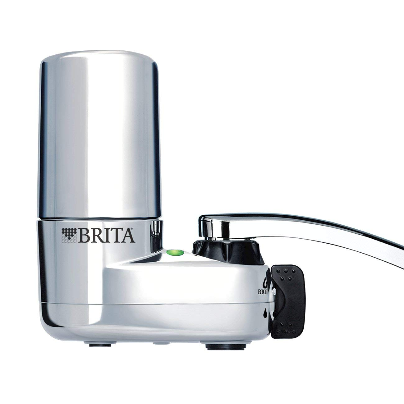 Brita Tap Water Filter System, Water Faucet Filtration System with Filter Change Reminder, Reduces Lead, BPA Free, Fits Standard Faucets Only - Chrome by Brita
