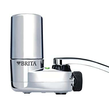 Brita Tap Water Filter System, Water Faucet Filtration System with Filter Change Reminder, Reduces Lead, BPA Free, Fits Standard Faucets Only - Chrome (Packaging May Vary)