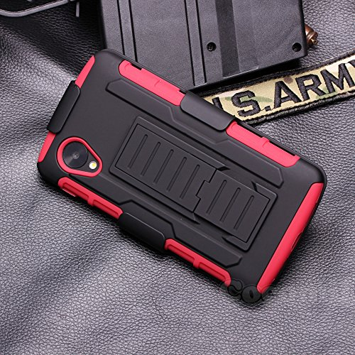 LG Nexus 5 Case, Cocomii Robot Armor NEW [Heavy Duty] Premium Belt Clip Holster Kickstand Shockproof Hard Bumper Shell [Military Defender] Full Body Dual Layer Rugged Cover Google D820 D821 (Red)
