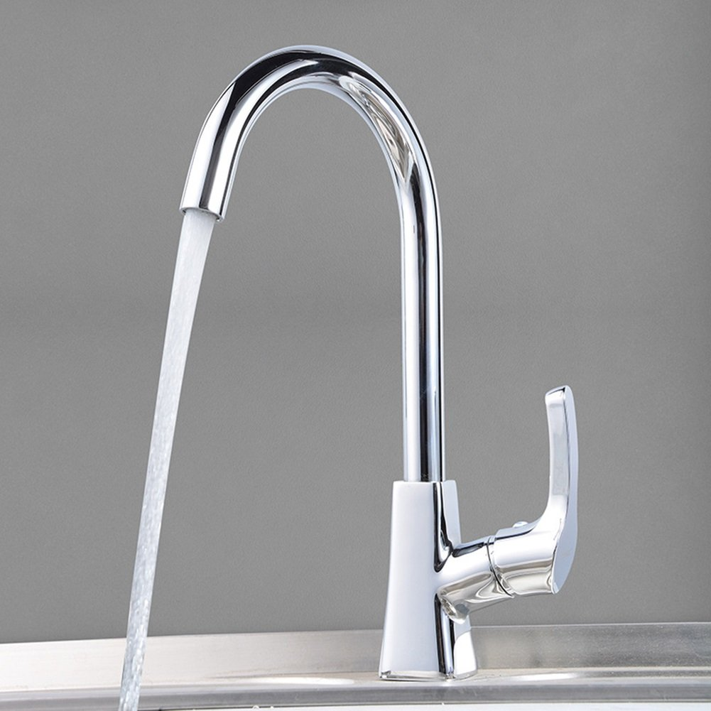 SJUN Hot and cold kitchen faucet tall curved stainless steel chromed sink sink mixer tap practical universal tap