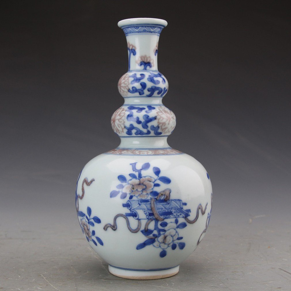 Antique Porcelaine Ornements Antiquités Collection D'Antiquités Kangxi Bleu Glaçure Rouge Bon Augure Voeux Trois