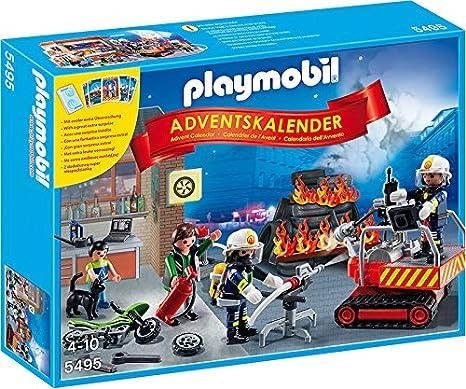 Calendario Avvento Playmobil.Playmobil 5495 Calendario Dell Avvento Pompieri In Azione Con Gioco Di Carte Multicolore