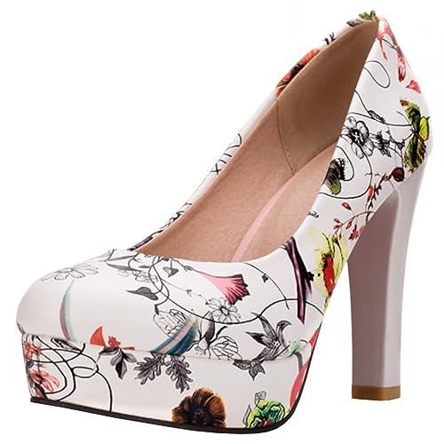 5c54fca0784d Artfaerie Women s High Heels Platform Pumps Floral Print Slip on Block Heel  Summer Work Shoes Green