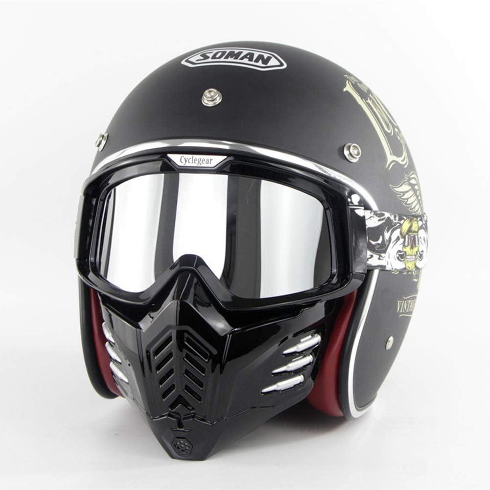 KuaiKeSport Retro Motocross Helm ECE-gepr/üft Off Road Helm Halbhelme+Maske+Schutzbrille,Adult Motorradhelm Herren Cross Helme Schutzhelm ATV Scooter Helm f/ür M/änner Damen,Open Face Motorradhalbhelm