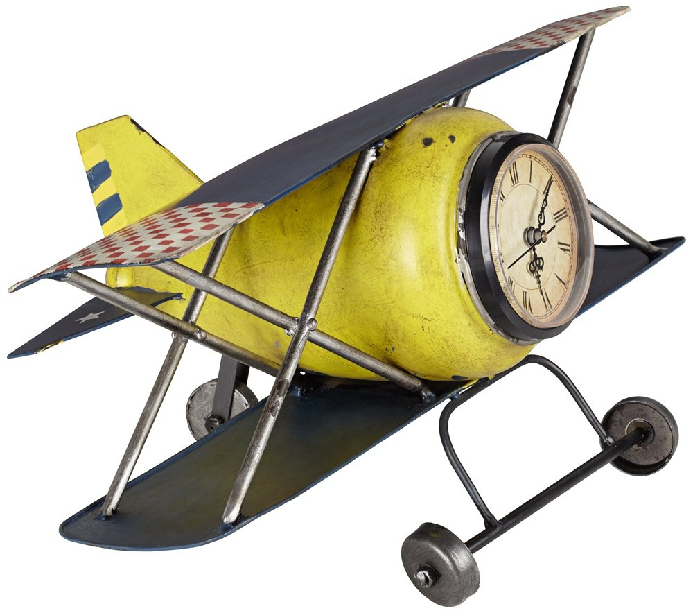 Amazon.com: Wright Classic Yellow Airplane Clock: Home & Kitchen