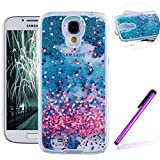 Samsung Galaxy S4 Case,LEECO Samsung Galaxy S4 Case Glitter Flowing Liquid Floating Moving Hard Protective Case Cover for Samsung Galaxy S4 Blue Liquid-Hearts