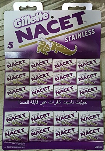Blade Sterling Stainless Silver - 100 NACET Stainless Double Edge Razor Blades Made Russia Men's Razors