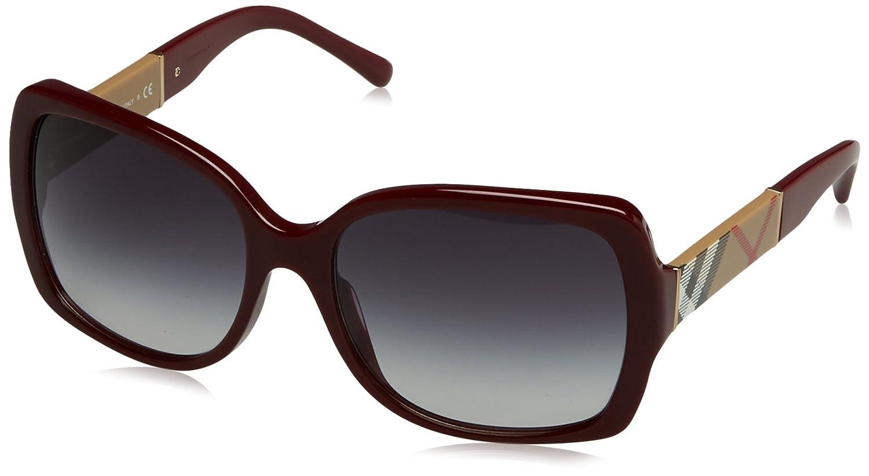 Bordeaux Grey Gradient Burberry Oversize Square Sunglasses in Black BE4160 343 38G 58