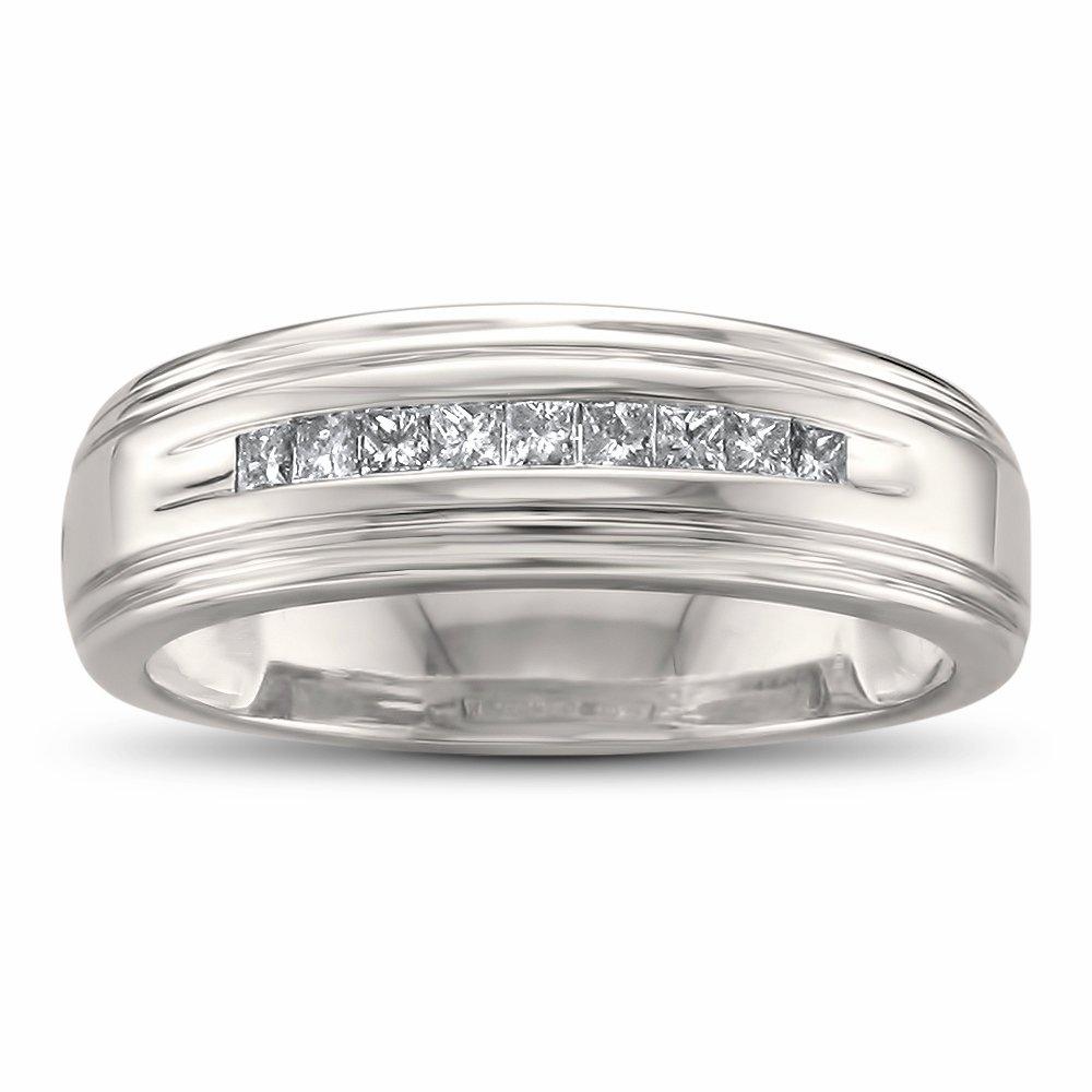 Size-10.5 Diamond Wedding Band in 14K White Gold 1//8 cttw, G-H,I2-I3