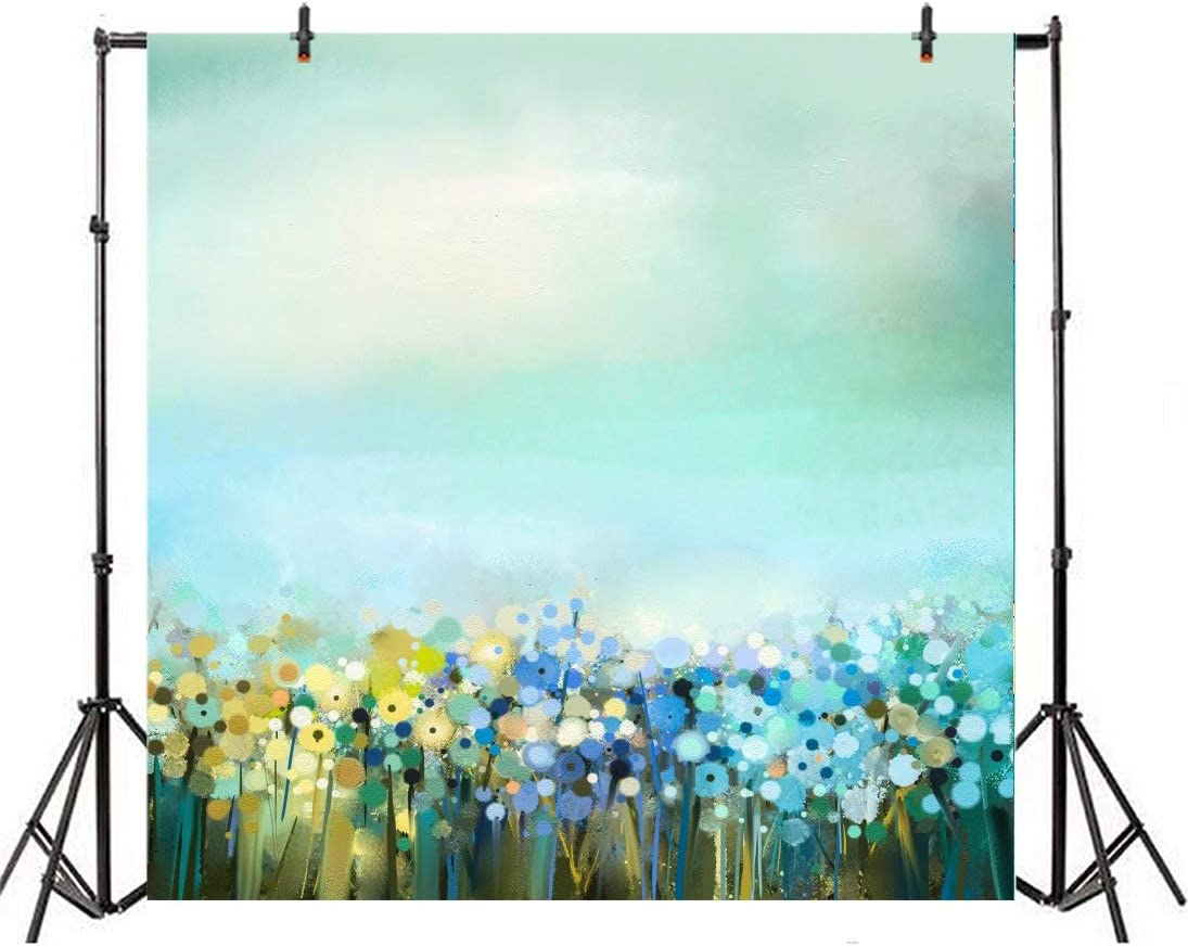 10x10ft Watercolor Oil Painting Square Backdrop Colorful Dandelion Bridal Wedding Valentines Day Birthday Party Photo Colorful Background Decorations Photography Portraits