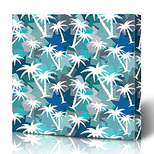 Ahawoso Canvas Prints Wall Art 12x16 Inches Natural Blue Batik Pattern Coconut Palm Trees Abstract Caribs Nature Camo Camouflage Caribbean Color Design Decor for Living Room Office Bedroom