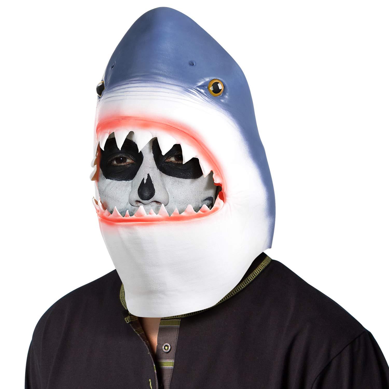 Ylovetoys Halloween Mask Shark Costume Head Mask Novelty Halloween Costume Party Masks Funny Latex Animal Head Mask