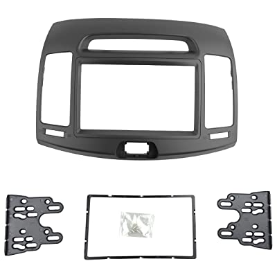 DKMUS Car Stereo Dash Radio Fascia Kit For 2006-2010 Hyundai Elantra (HD), Avante (HD) 2006-2010 Installation Trim Panel Frame Double Din (Grey): Car Electronics