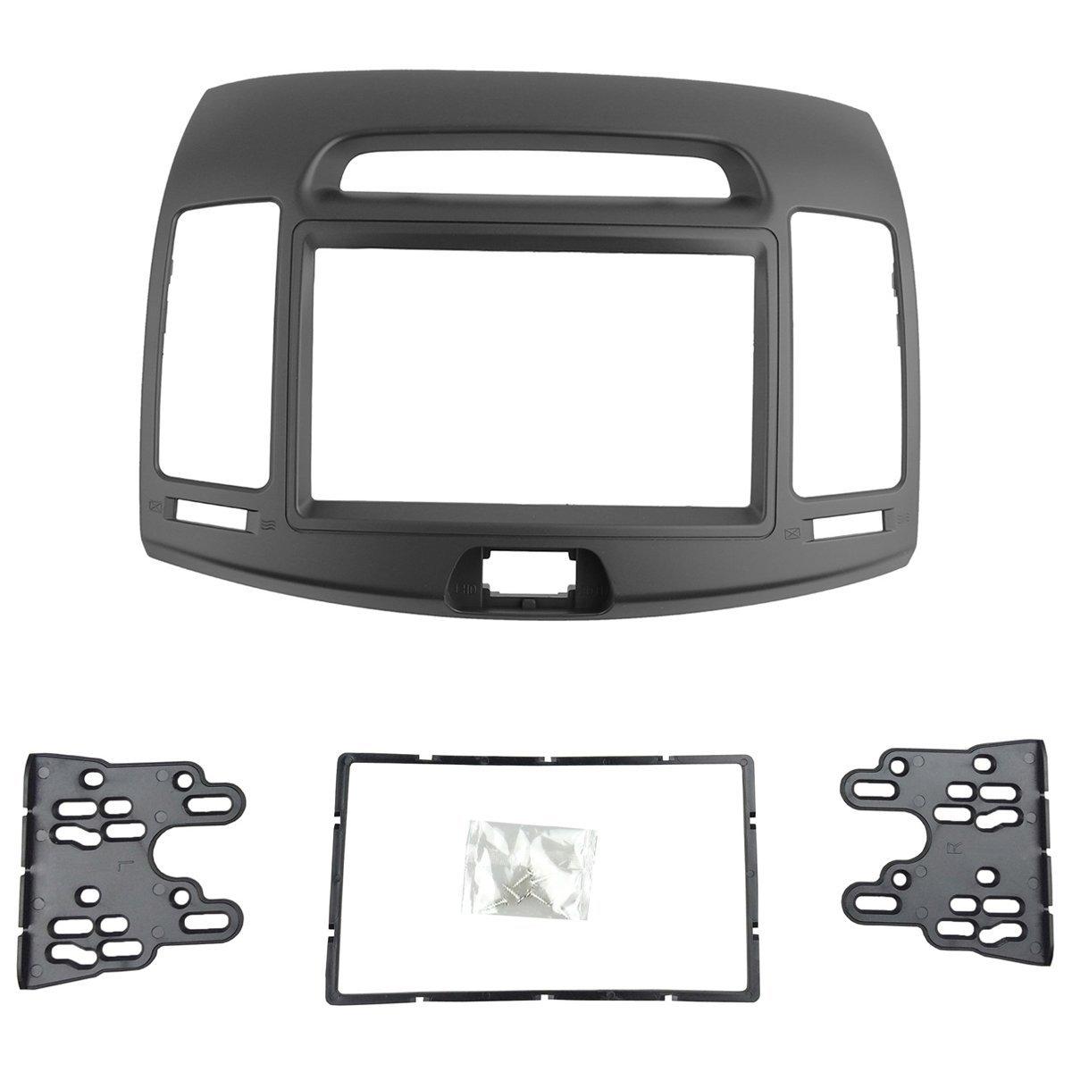 DKMUS Car Stereo Dash Radio Fascia Kit For 2006-2010 Hyundai Elantra (HD), Avante (HD) 2006-2010 Installation Trim Panel Frame Double Din (Grey) by DKMUS