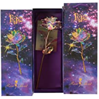 COODIO 24K Gold Foil Rose Luminous Galaxy Flowers Gifts for Mother's Day Valentine's Day 1 no lamp