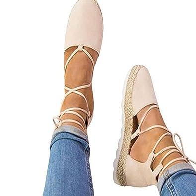 Juleya Femme Sandales Été Chaussures Plat Lacet Sandales Plateform Nu  Chaussures Mode Bout Fermé Chaussures Rose