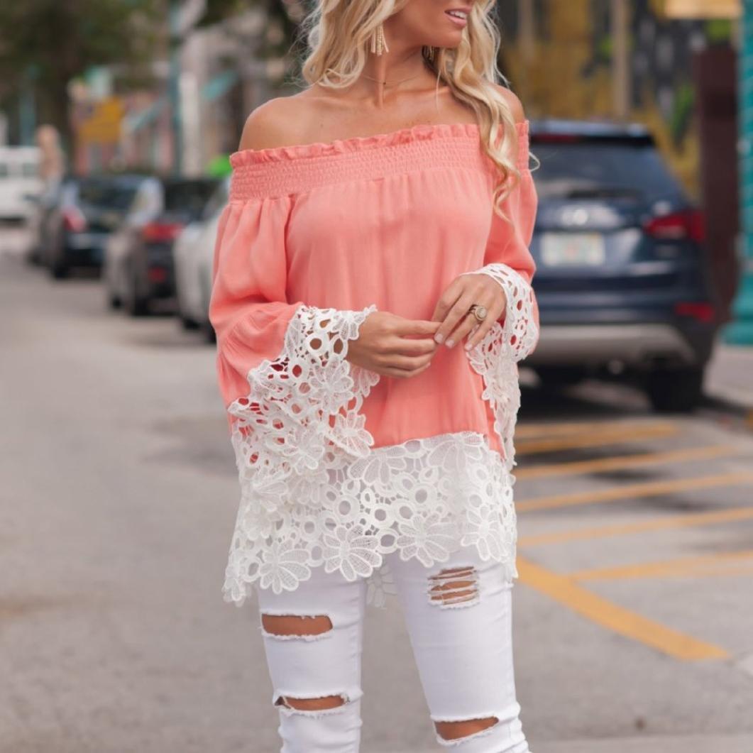 IMJONO Damen Fashion Womens Casual Blouse Curve Appeal Lace Splicing  T-Shirt Blouse Tops  Amazon.de  Bekleidung 97f74b63cd