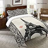 1 Piece Kids Eiffel Tower Print Comforter Set Queen Size, All Over Paris Travel Theme, Multi Motif Floral France Inspire Bordered, High-Class Love Sayings Pattern Bedding, Vibrant Colors Black White