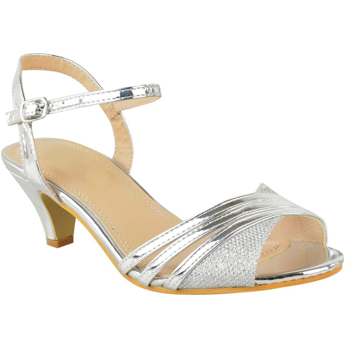 06f72287d Fashion Thirsty Las Mujeres Tacón de Señoras bajo Sandalias de Fiesta Tiras Boda  Dama de Honor Zapatos Talla Heelberry  Amazon.es  Zapatos y complementos