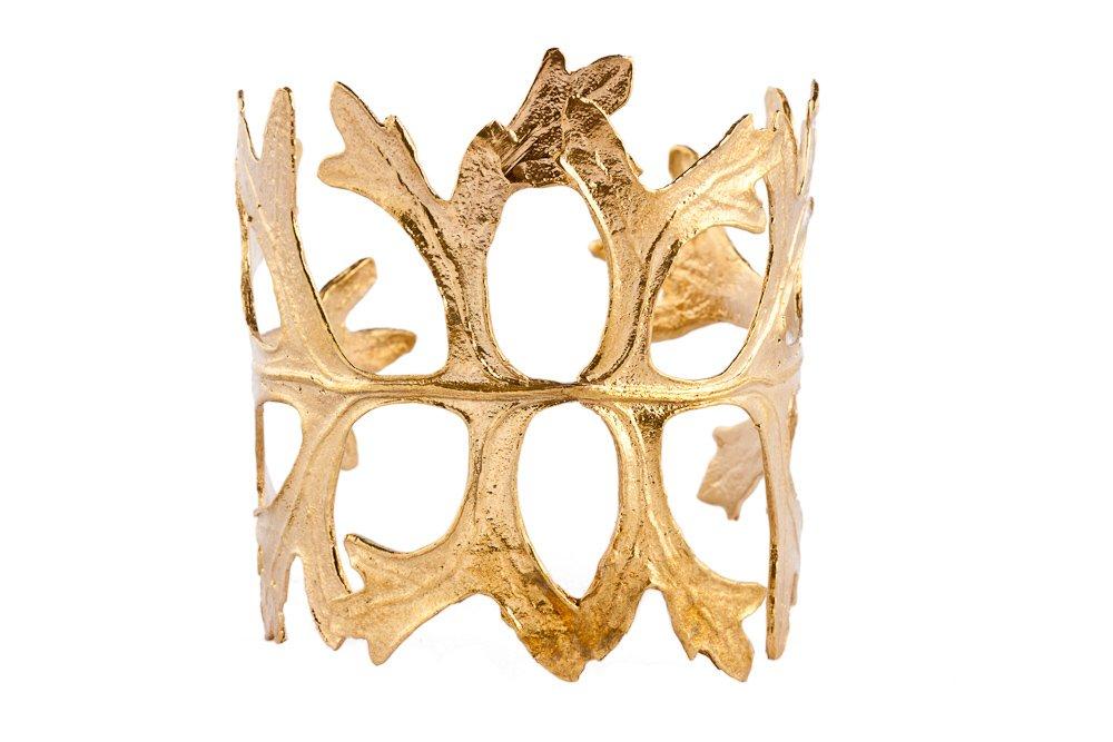 Womens Gold Plated Courtenay Leaf Cuff/Bracelet