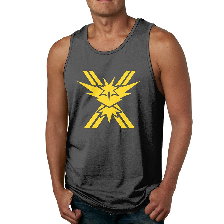 Ouidtk Men's Pokemon Go Team Instinct Tank Top/Vest/Muscle Shirt Black