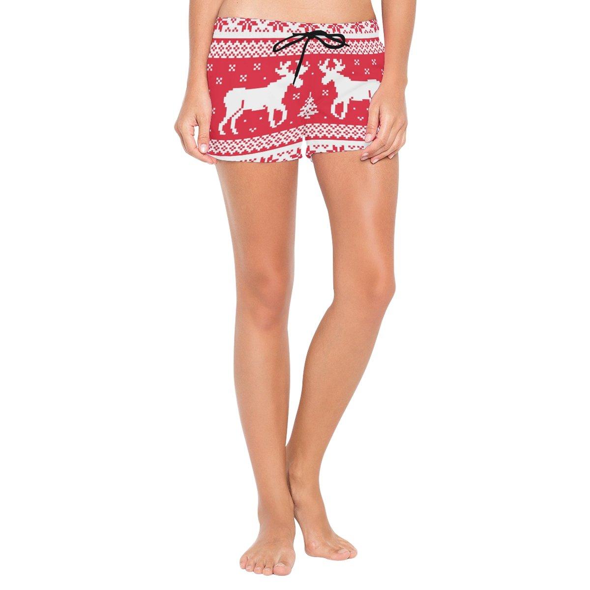 Bennigiry Women Merry Christmas Beach Shorts Summer Casual Bottom Swimsuit ndk-001
