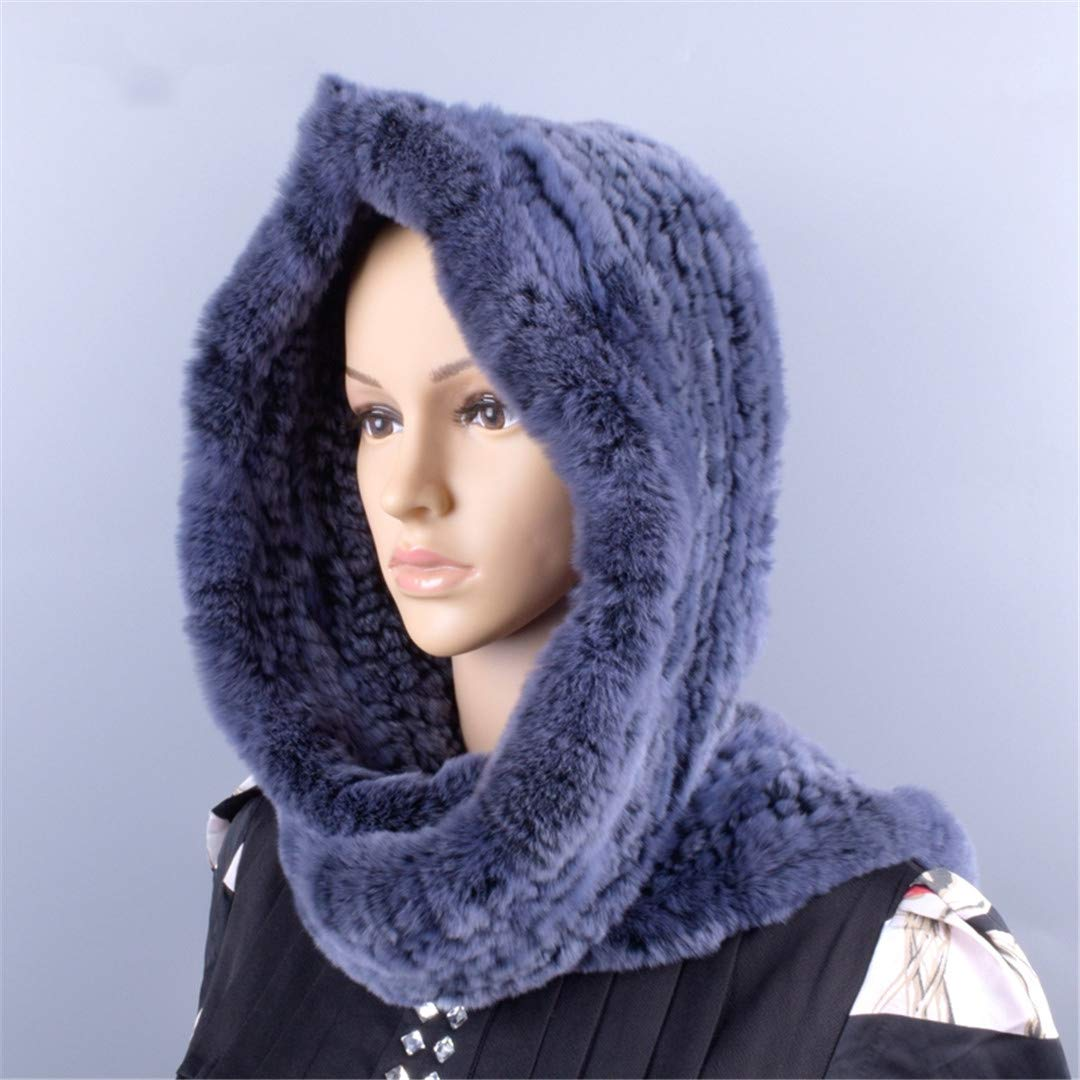 Knitted Fur Hood Real Rex Scarf Hat For Women Winter Snow Warm Large-Knitted Hat Black 56to59cm by Morussnta (Image #5)