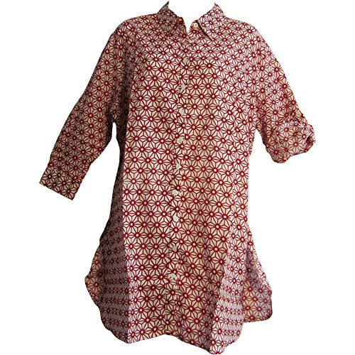 Sleeve Gauze Tunic (Indian Gauze Cotton Roll Tab 3/4 Sleeve Long Tunic Blouse Top Sita #14 (Regular))