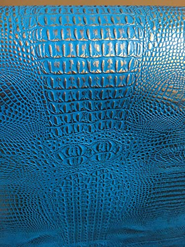 LUVFABRICS Two Tone Alligator Print Texture Embossed Faux Leather Vinyl Upholstery Fabric by The Yard 54 Inches Wide (Blue-Silver)