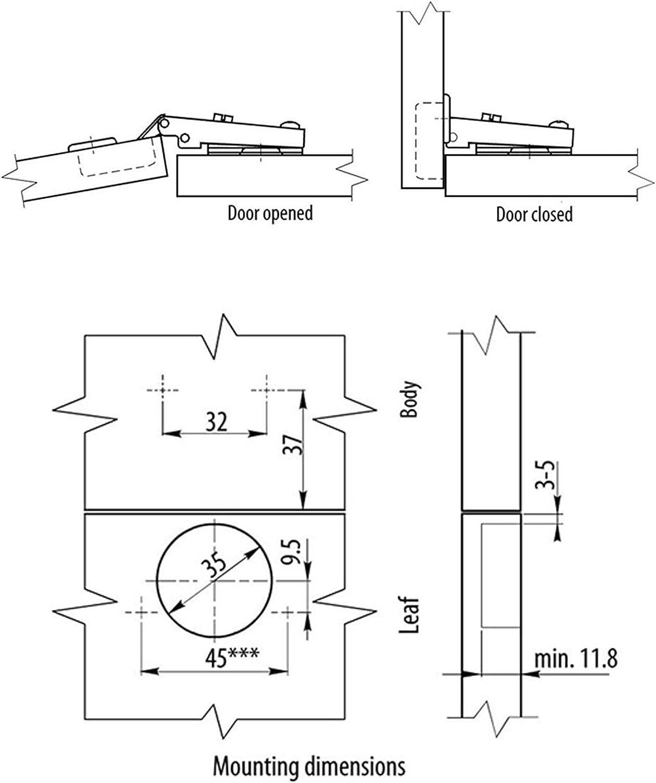 Bisagra para puerta de armario de cocina 20 unidades cierre suave 35 mm HomeCentre/® 2 10