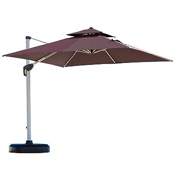 Beautiful Purple Leaf 10 Feet Double Top Deluxe Square Patio Umbrella Offset Hanging Umbrella  Outdoor Market Umbrella
