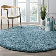 "Safavieh California Premium Shag Collection SG151-5858 Turquoise Round Area Rug (67"" Diameter)"
