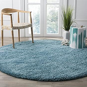 """Safavieh California Premium Shag Collection SG151-5858 Turquoise Round Area Rug (67"""" Diameter)"""