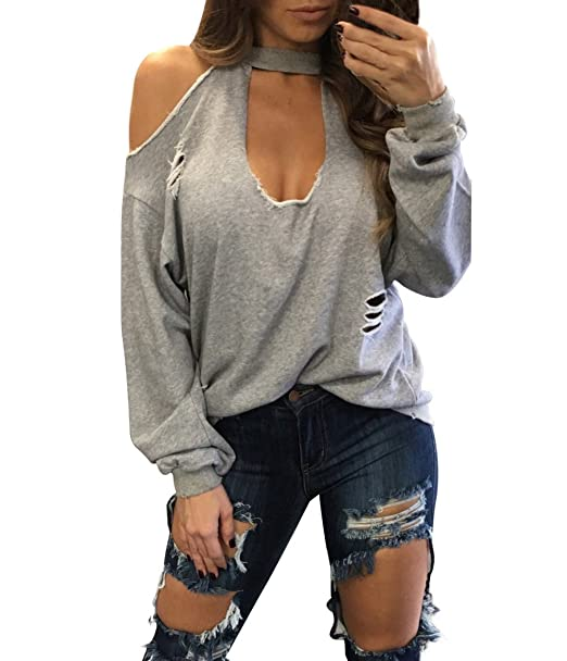 Blusas De Mujer Elegante Primavera Manga Larga V Cuello Camisetas Off Shoulder Hollow Halter Ropa Dama Moda Fashionista Anchos Color Sólido Casual Tops: ...