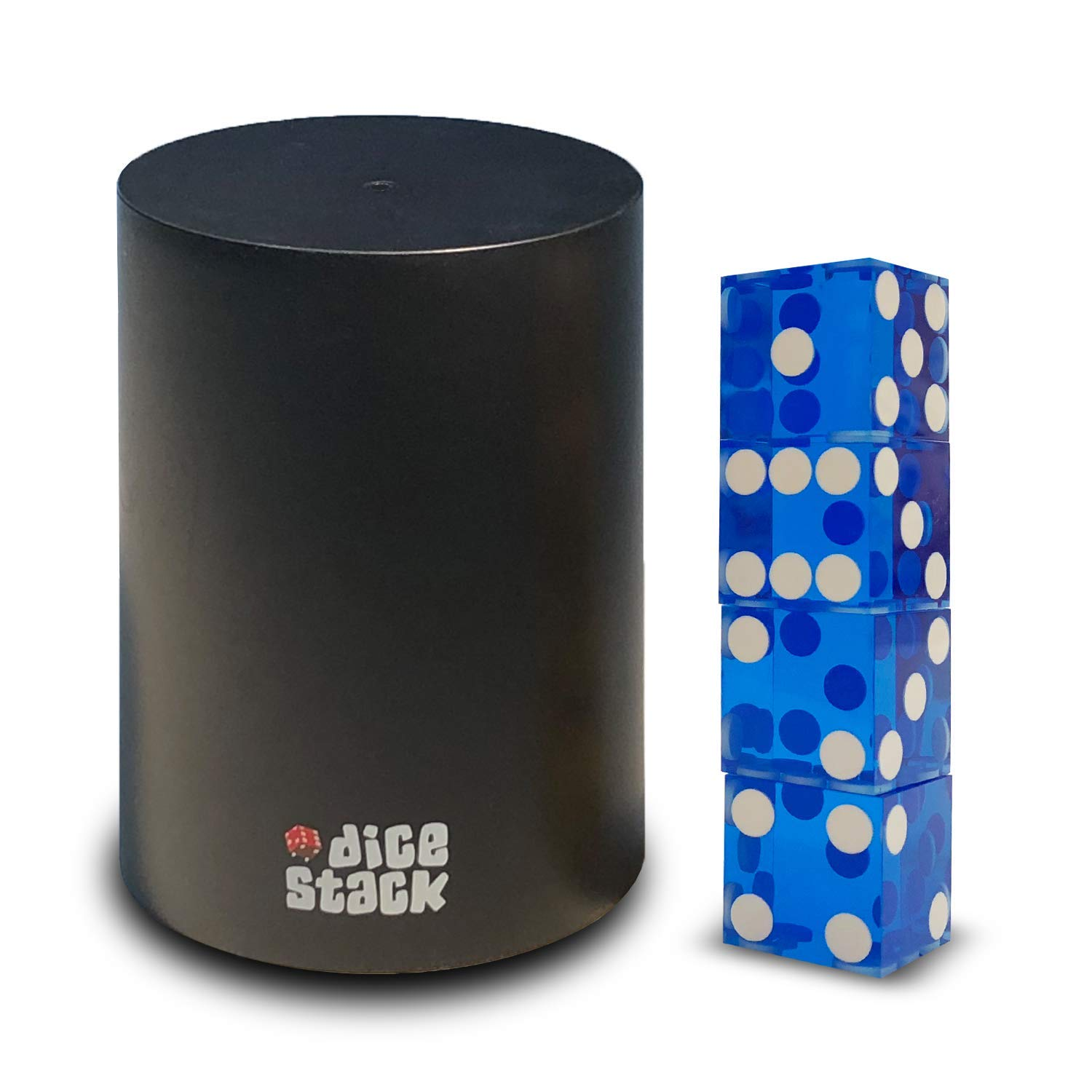 Dice Stacking Cup - Professional Straight Cups Black w/5 19mm Razor Edges Dice - Accessories - Magic Tricks (9cm Blue) by Dice Stack