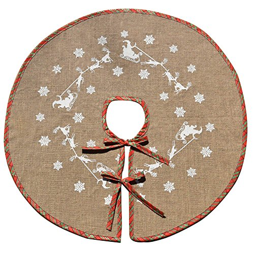 Awtlife Christmas Tree Skirt 48'' Round Snowflake Santa Claus Christmas Holiday Burlap Tree Skirt, Red and Green Plaid by Awtlife