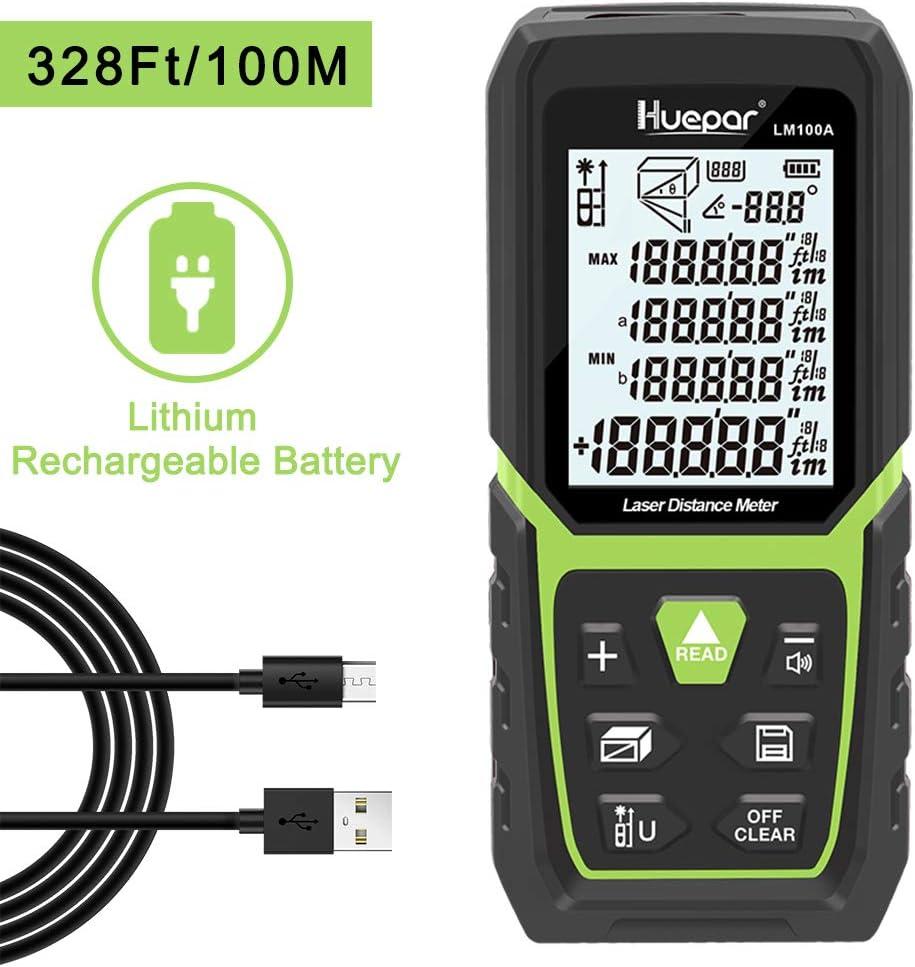 Huepar Telémetro Láser 100M con Batería de Ion de Litio y Sensor de Ángulo Eléctrico, LCD Retroiluminado Medida Láser M/In/Ft con Alta Precisión Modos de Medición Múltiple, Pitagórico-LM100A
