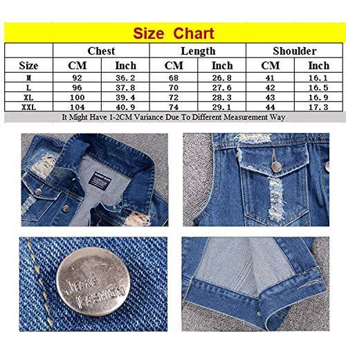 Vaqueros Raído Apenada Pantalones Azul Azul Hombres De Mezclilla Los Chaleco Chaleco Simple De Chaleco Ropa Cómodos Rasgados Apenada Tamaños Chaleco Moda qwOpCIS