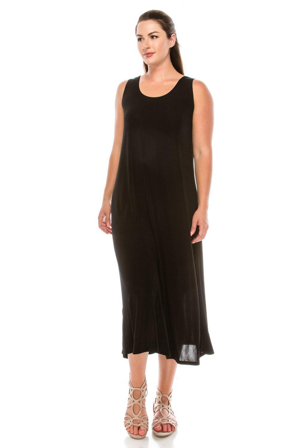 Jostar Stretchy Long Tank Dress in Black Color in Medium Size