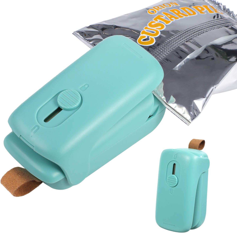 Bag Sealer Mini Portable Bag Resealer Machine 2 in 1 Heat Sealer & Cutter for Plastic Bags Storage Snack Cookies Fresh (Battery Not Included, Green)