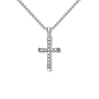 Kinder Kreuz Anhänger Zirkonia zur Kommunion Weiß Gold 333 mit Kette Silber 925