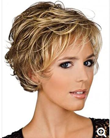 Fencca Curly Wigs For White Women Short Curly Hair Wigs With Bangs Heat Resistant Synthetic Hair Fashion Wigs With A Free Wig Cap Blonde With