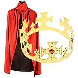 王冠 と リバーシブル 赤 黒 マント セット コスプレ 衣装 パーティー グッズ (Aセット)