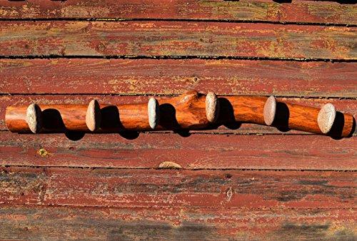 6 Stone Hooks on Oak wood - Hanger - Coat Rack with Beach STONES - Hardwood Handcrafted Wall mounted solid oak towel rack with natural Beach Stones - medal hanger - towel holder